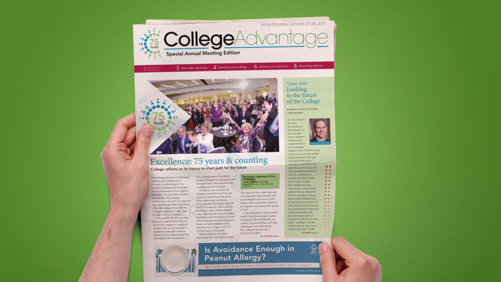 American College of Allergy, Asthma, and Immunology 2017 - College Advantage Daily